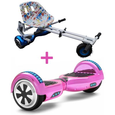 chrome pink hoverboard bundle
