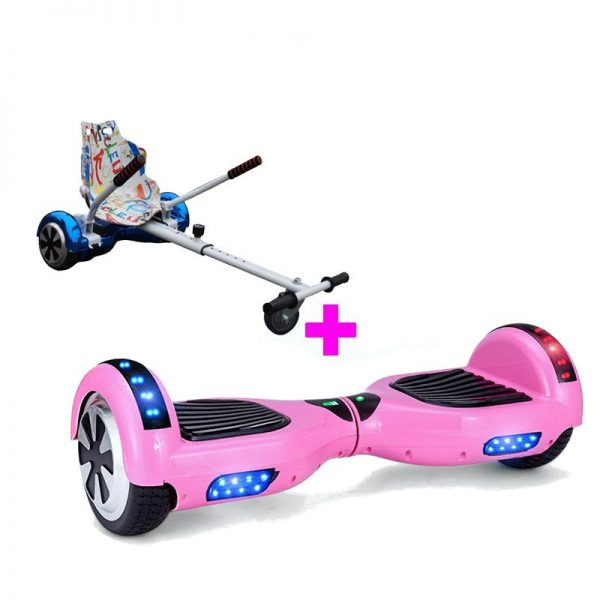 Classic Pink Bluetooth Hoverboard Hoverkart Bundle