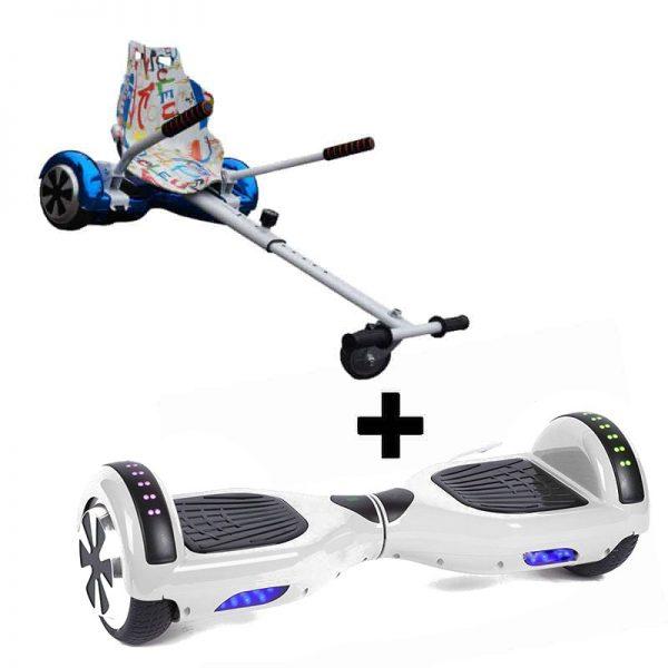 Classic White Hoverboard Swegway + Graffiti White Racer Hoverkart