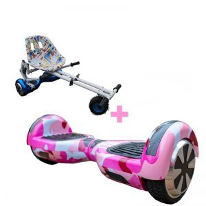 Led Arch Bluetooth Camo Pink Hoverboard + Graffiti White Monster Hoverkart