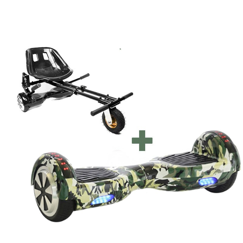 Led Arch Bluetooth Camo Green Hoverboard + Black Monster Hoverkart