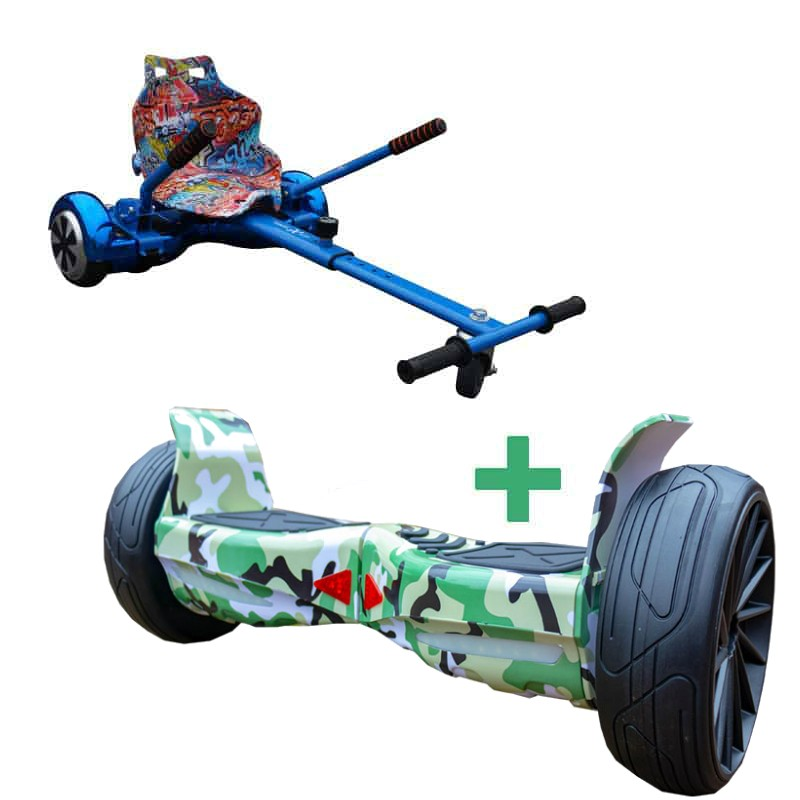 FREE GRAFFITI HOVERKART With All Terrain Camo Green Hoverboard