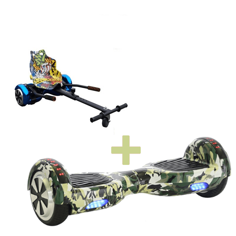 Led Arch Bluetooth Camo Green Hoverboard + Graffiti Yellow Racer Hoverkart