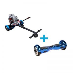 Chrome Blue Bluetooth Hoverboard Hoverkart Bundle