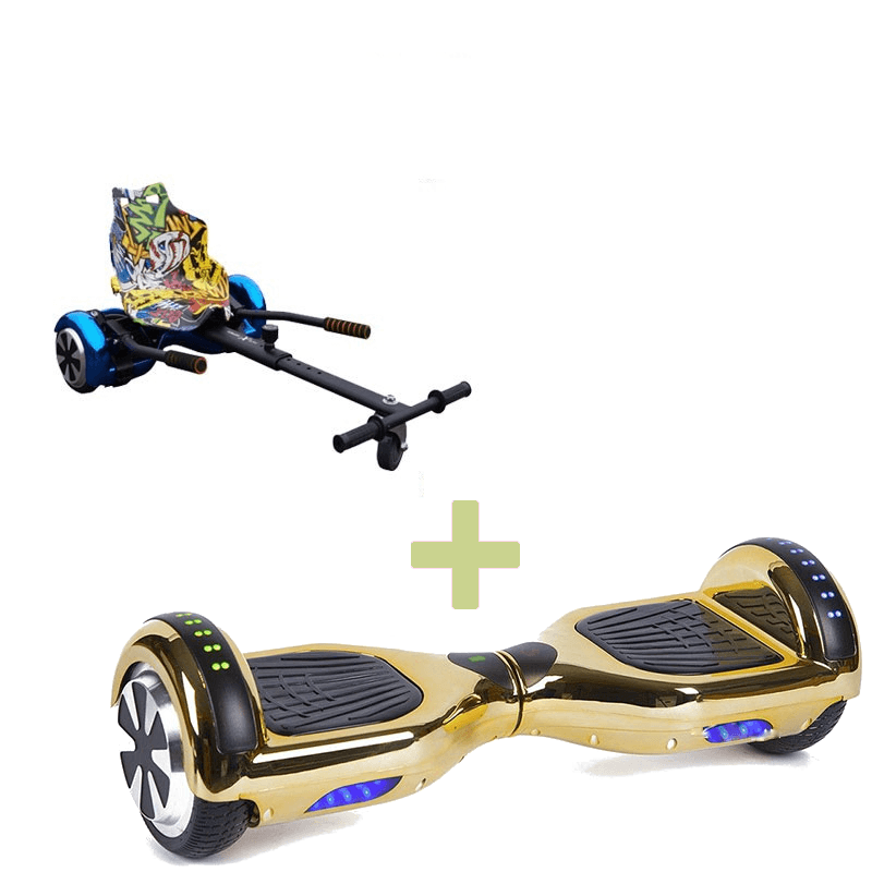 Led Arch Chrome Gold Hoverboard + Graffiti Yellow Hoverkart