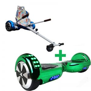 Led Arch Chrome Green Hoverboard + Graffiti White Hoverkart