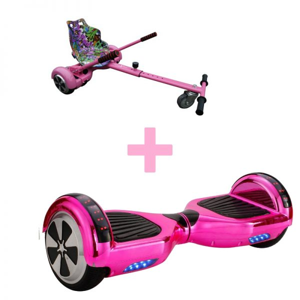 Led Arch Bluetooth Chrome Pink Hoverboard + Graffiti Pink Hoverkart