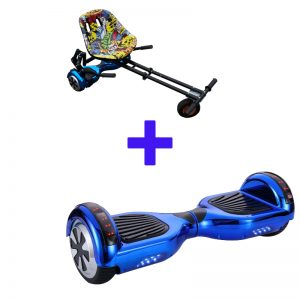Led Arch Bluetooth Chrome Blue Hoverboard + Graffiti Yellow Hoverkart