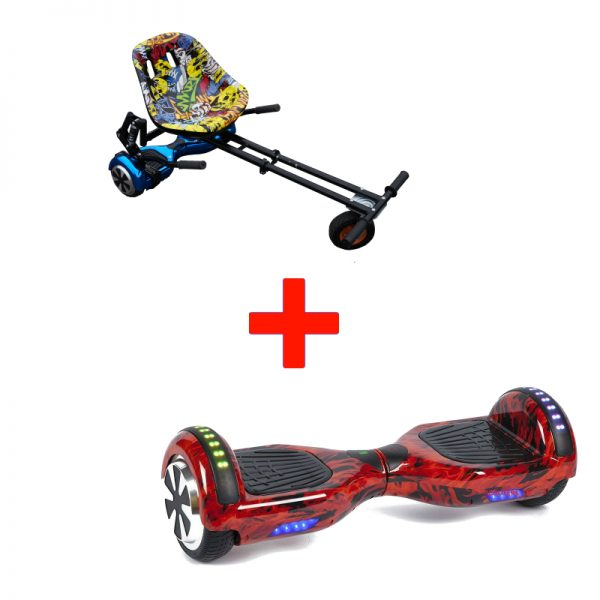 Bluetooth Flame Led Arch Hoverboard Swegway + Black Monster Hoverkart