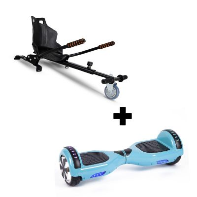 """Ultra Black Hoverkart Go Kart With 6.5"""" Bluetooth Baby Blue Hoverboard Segway Swegway"""