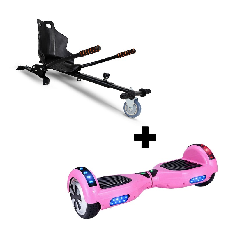 "Ultra Black Hoverkart Go Kart With 6.5"" Bluetooth Pink Hoverboard Segway Swegway"