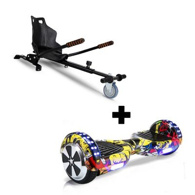 """Ultra Black Hoverkart Go Kart With 6.5"""" Bluetooth Hip Hop Yellow Hoverboard Segway Swegway"""