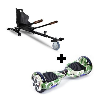 "Ultra Black Hoverkart Go Kart With 6.5"" Bluetooth  Camo Green Hoverboard Segway Swegway"