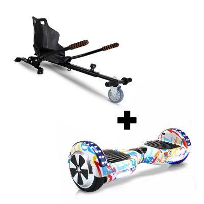 "Ultra Black Hoverkart Go Kart With 6.5"" Bluetooth Hip Hop White Hoverboard Segway Swegway"