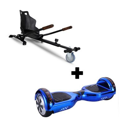 "Ultra Black Hoverkart Go Kart With 8.5"" Bluetooth Blue Hoverboard Segway Swegway"