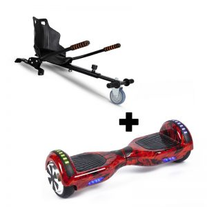 "Ultra Black Hoverkart Go Kart With 6.5"" Bluetooth Red Hoverboard Segway Swegway"