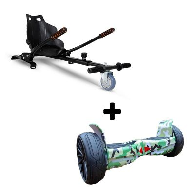 """Ultra Black Hoverkart Go Kart With 8.5"""" Bluetooth All Terrain Green Camo Off Road Off Road Hoverboard Segway Swegway"""