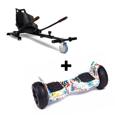 """Ultra Black Hoverkart Go Kart With 6.5"""" Bluetooth White Off Road Hoverboard Segway Swegway"""