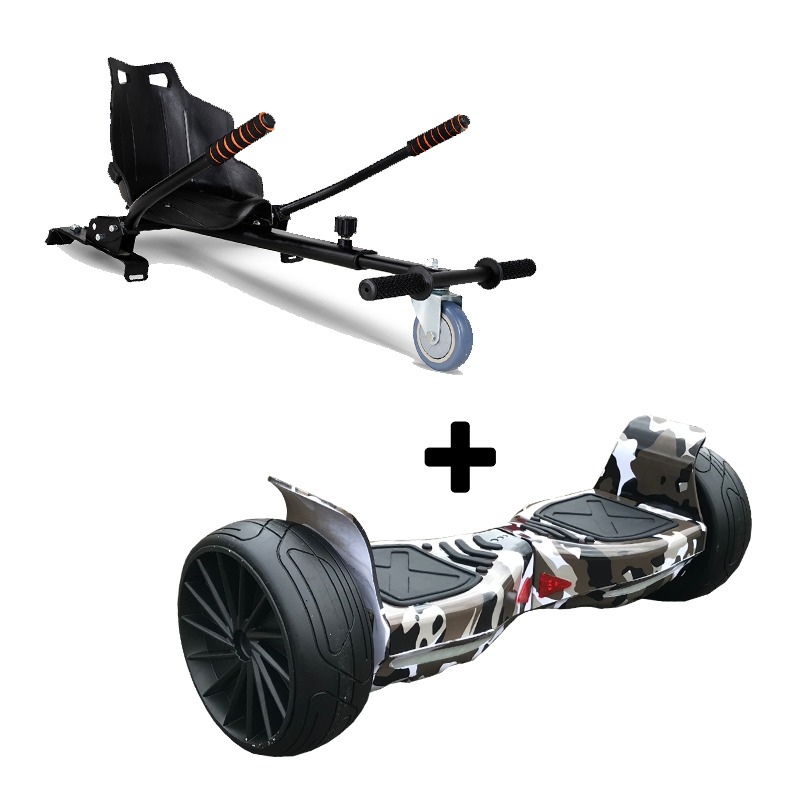 "Ultra Black Hoverkart Go Kart With 8.5"" Bluetooth Black Camo Off Road Hoverboard Segway Swegway"