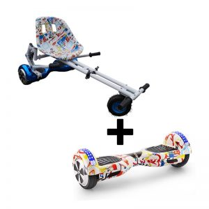 Graffiti White Bluetooth Hoverboard Swegway With Suspension Hoverkart Bundle
