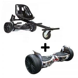 Black Camo 8.5″ All Terrain Bluetooth Swegway Hoverboard With Off Road Hoverkart Bundle