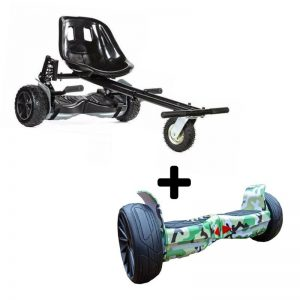 Graffiti Camo Green 8.5″ All Terrain Bluetooth Swegway Hoverboard With Off Road Hoverkart