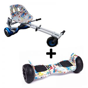 Graffiti White 8.5″ All Terrain Bluetooth Swegway Hoverboard With White Suspension Bundle