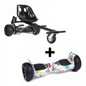 Graffiti White 8.5″ All Terrain Bluetooth Swegway Hoverboard With Off Road Hoverkart Bundle