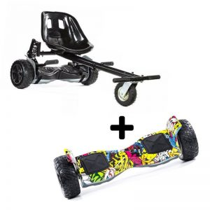 Hip Hop Monster 8.5″ All Terrain Bluetooth Swegway Hoverboard With Off Road Hoverkart Bundle