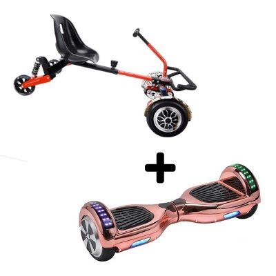 Rose gold chrome hoverboard + drifter x hoverkart bundle