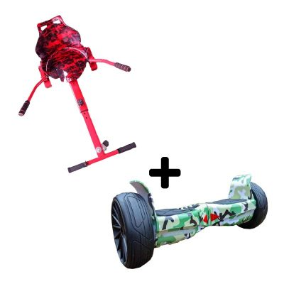 """Camo Red graffiti Racer with 8.5"""" Camo Green all terrain off road Bluetooth hoverboard swegway"""