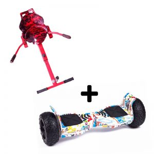 "Camo Red graffiti Racer with 8.5"" White all terrain off road Bluetooth hoverboard swegway"