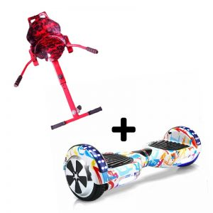 6.5 Bluetooth Graffiti White Hoverboard Swegway + Red Racer Hoverkart