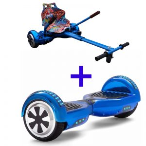 Chrome Blue LED Bluetooth Hoverboard + Hoverkart Bundle