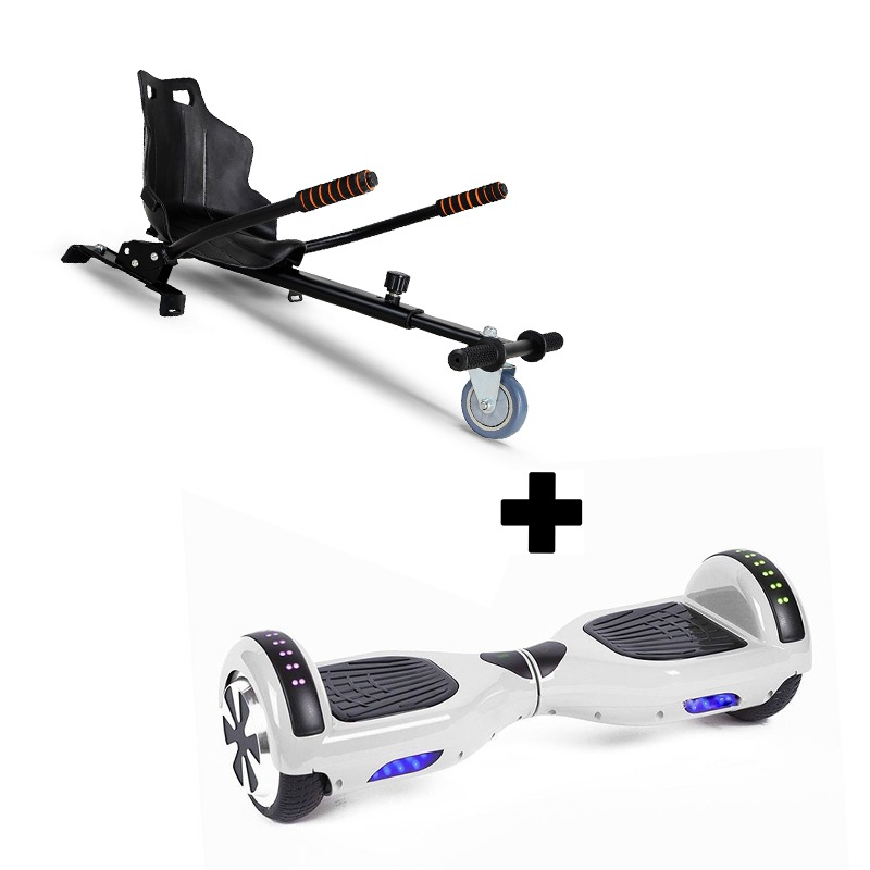"""Ultra Black Hoverkart Go Kart With 6.5"""" Bluetooth  White Hoverboard Segway Swegway"""