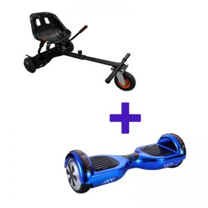 Chrome Blue Hoverboard + Super Spring Hoverkart Bundle