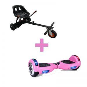 Baby Pink Hoverboard + Super Spring Hoverkart Bundle