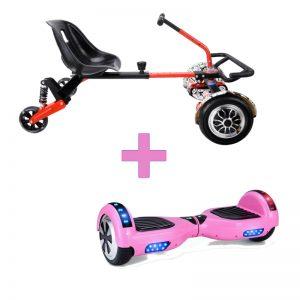 Baby Pink Hoverboard + Drifter X Hoverkart Bundle