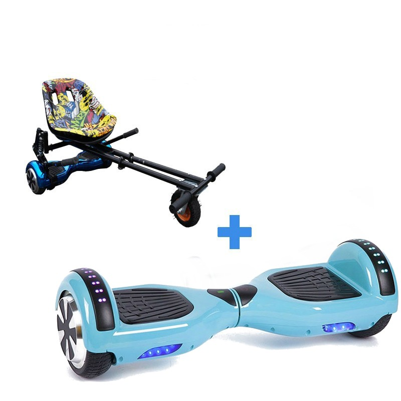 Led Arch Bluetooth Classic Baby Blue Hoverboard + Monster Hoverkart