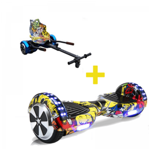 Hip Hop Yellow Hoverboard Hoverkart Bundle