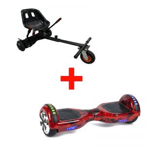 Red Flame Hoverboard + Super Spring Hoverkart Bundle