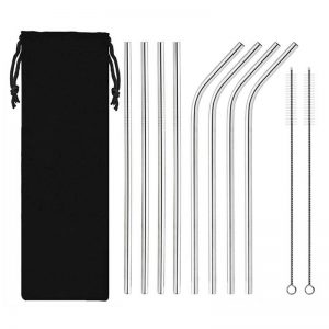Stainless Steel Silver Reusable Metal Straws Set of 8