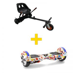 Graffiti White Hoverboard + Super Spring Hoverkart Bundle