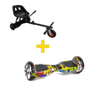 Graffiti Yellow Hoverboard + Super Spring Hoverkart Bundle