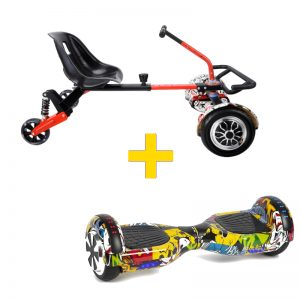 Graffiti Yellow Hoverboard + Drifter X Hoverkart Bundle