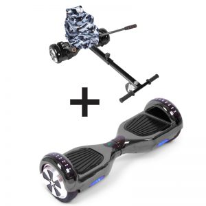 Chrome Black LED Bluetooth Hoverboard + Camo Black Bundle