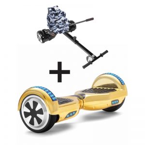 Chrome Gold LED Bluetooth Hoverboard + Camo Black Bundle