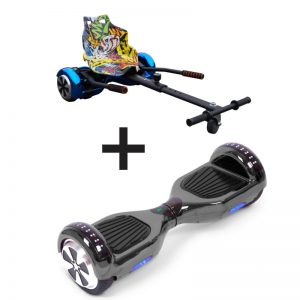 Chrome Black LED Bluetooth Hoverboard + Graffiti Black Bundle